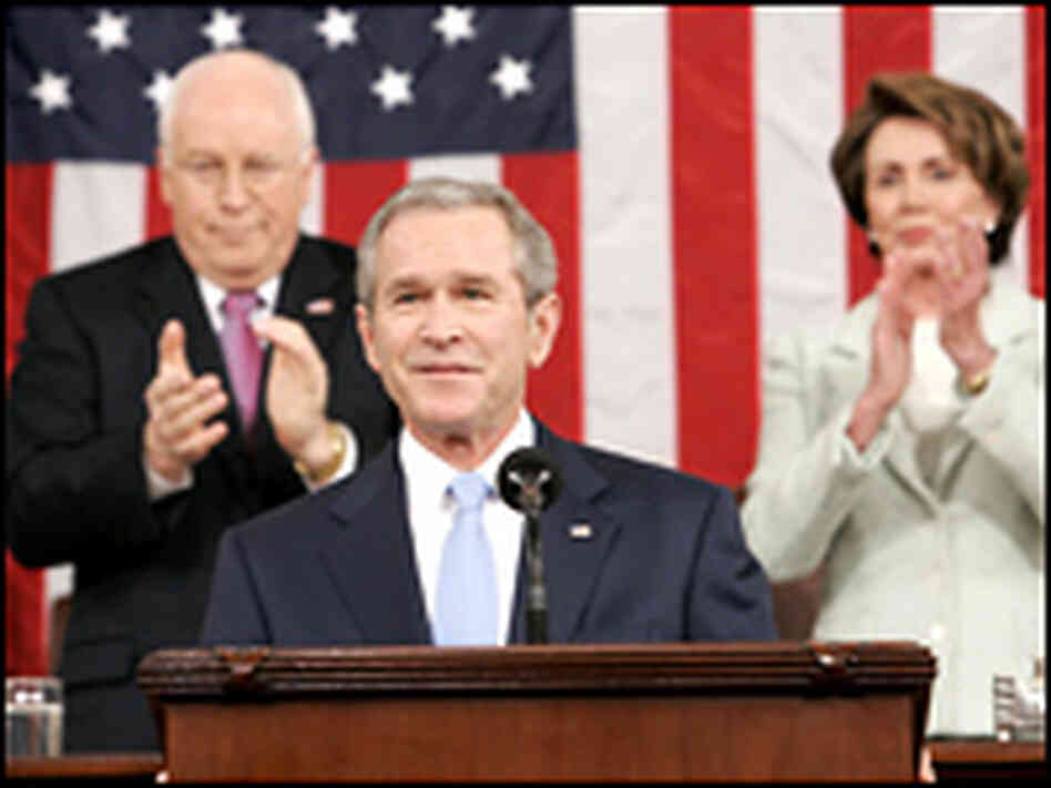 George W. Bush, Dick Cheney and Nancy Pelosi. Credit: Larry Downing/AFP/Getty Images.