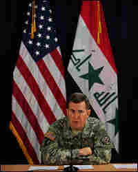 Brig. Gen. Kevin J. Bergner speaks to reporters in Baghdad.
