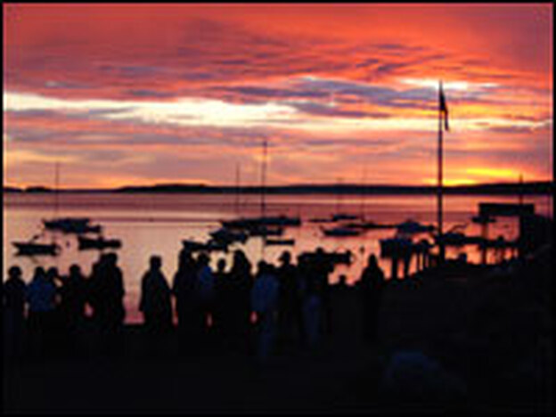 The first day of independence on Chebeague Island, Maine, began with a sunrise service.