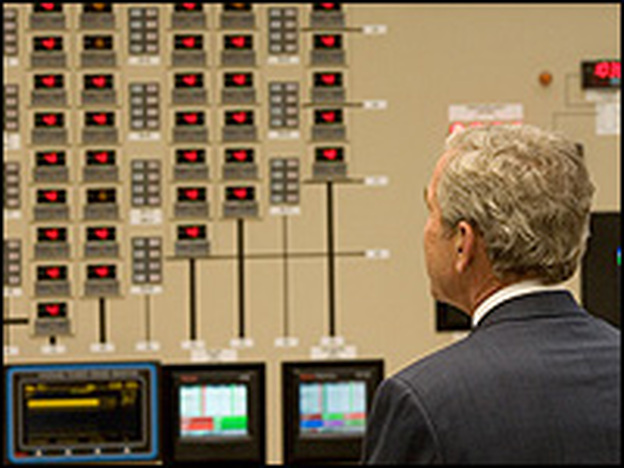 President Bush makes a June 21 visit to the control room at Browns Ferry Nuclear Plant in Athens, Ala. When it opened in 1974 it was the largest in the world.