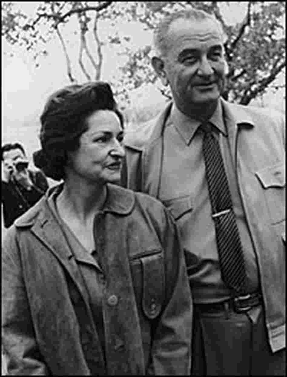 Lyndon Johnson and first lady Lady Bird Johnson on their ranch, Austin, Texas, in December 1963.