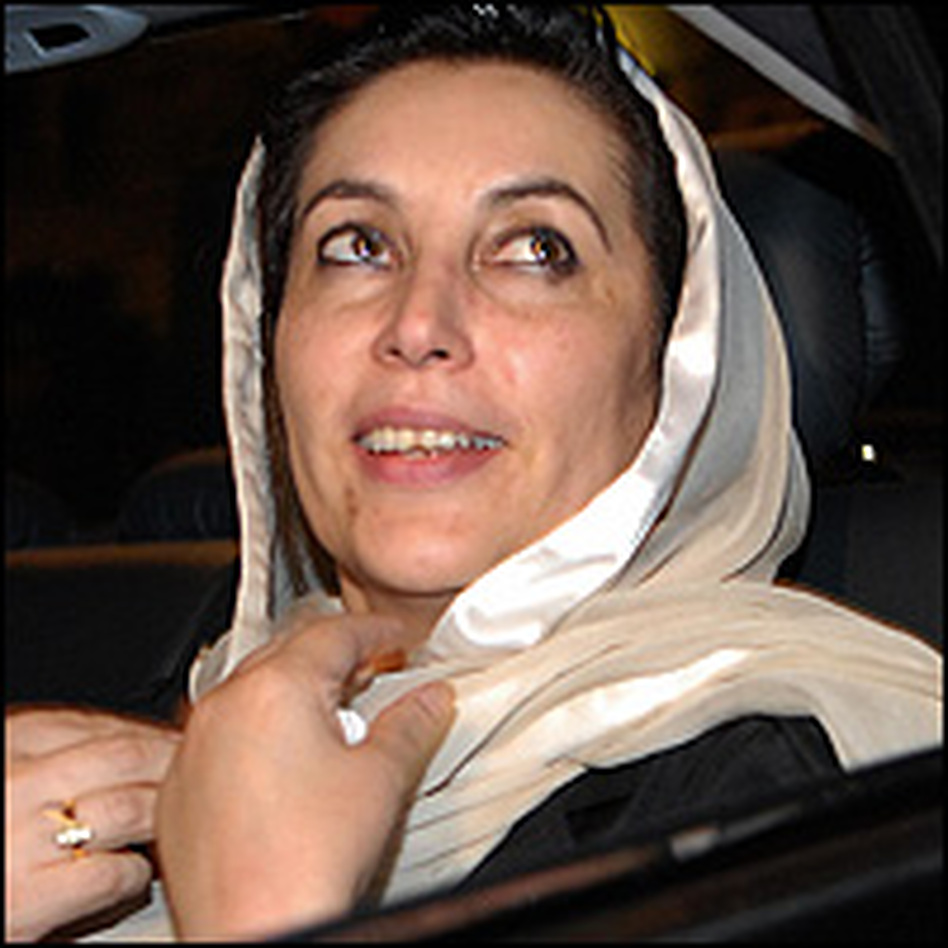 Former Pakistani Prime Minister Benazir Bhutto, following a London news conference in October 2006.
