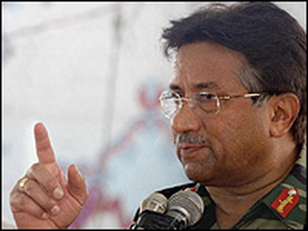 Gen. Pervez Musharraf on July 7, during a visit to the flood-hit town of Usta Mohammad.