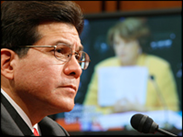 U.S. Attorney General Alberto Gonzales listens as he is questioned by Sen. Dianne Feinstein (D-CA) during a hearing before the Senate Judiciary Committee on Capitol Hill, July 24, 2007, in Washington, D.C. (Getty Images)