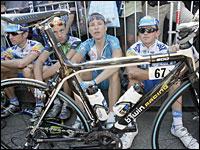 Tour de France riders stage a protest/AP.