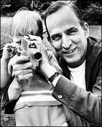 An undated photo from the 1960s shows Ingmar Bergman teaching his son Daniel how to handle a camera