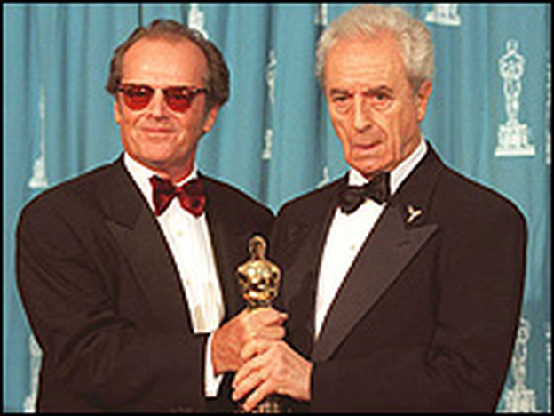 In 1995, Antonioni was honored with an Oscar for lifetime achievement. Jack Nicholson, who starred in the 1975 Antonioni film The Passenger, presented the award. (AFP/Getty Images))