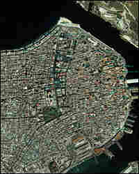 A satellite view of Havana.