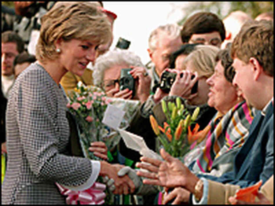 Princess Diana greets members of the public before opening the Foundation for Conductive Education f