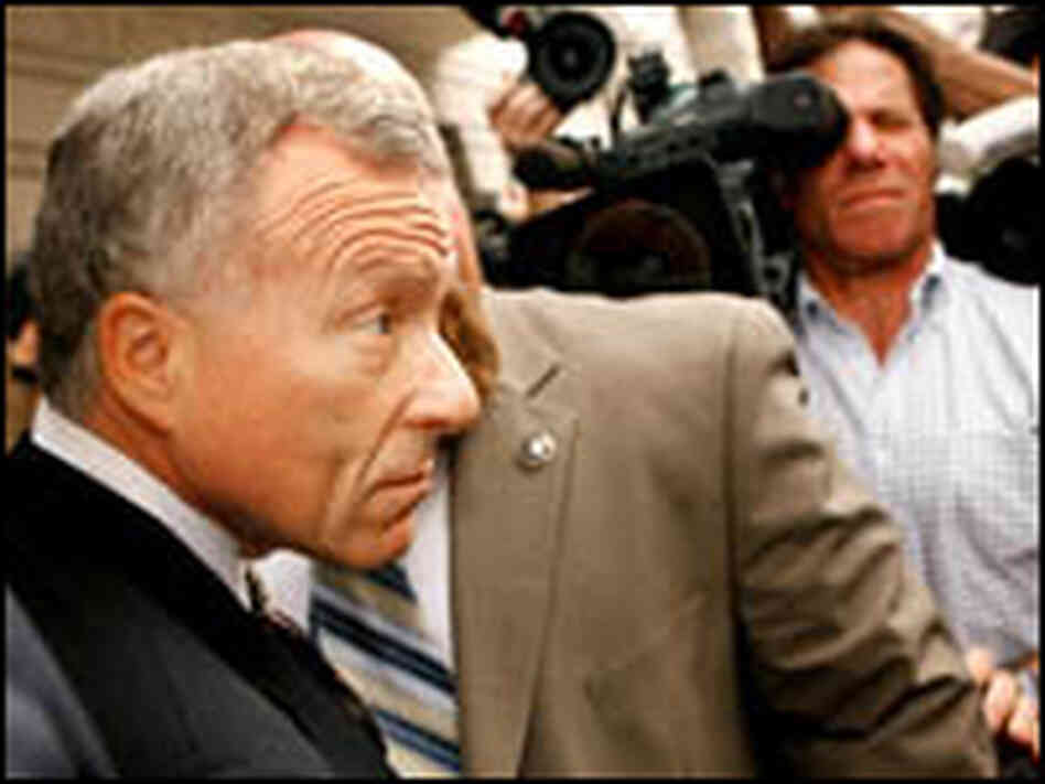 "I. Lewis ""Scooter"" Libby leaves the US courthouse after being sentenced."