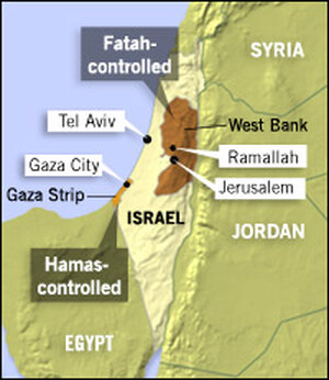 Map of Hamas- and Fatah-controlled areas.