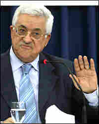 Palestinian President Mahmud Abbas gestures as he delivers a keynote speech to the central council.