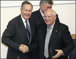 Former U.S. President George Bush and former Soviet leader Mikhail Gorbachev