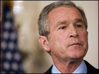 President Bush speaks to reporters at the White House.