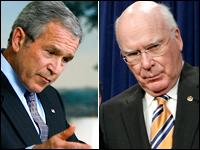 President Bush and Sen. Patrick Leahy.