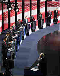 Ten candidates filled the stage at the Ronald Reagan Presidential Library Thursday night.