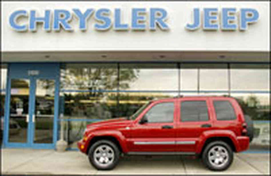 A Chrysler Jeep sits at a Chrysler dealership May 14, 2007, in Troy, Michigan