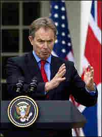 British Prime Minister Tony Blair speaks during a joint press conference with President Bush at the