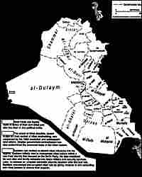 A map of the tribal and sectarian divisions in Iraq, from page 77 of the intelligence report.