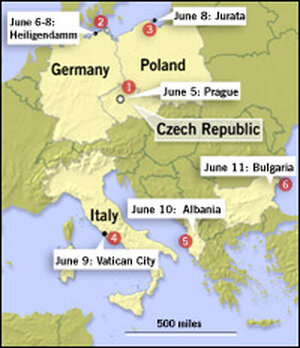 Map of President Bush's Europe trip.