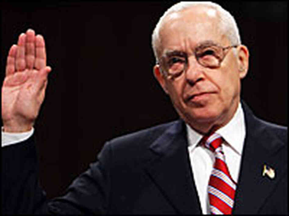 Retired federal Judge Michael B. Mukasey is sworn-in before the Senate Judiciary Committee.