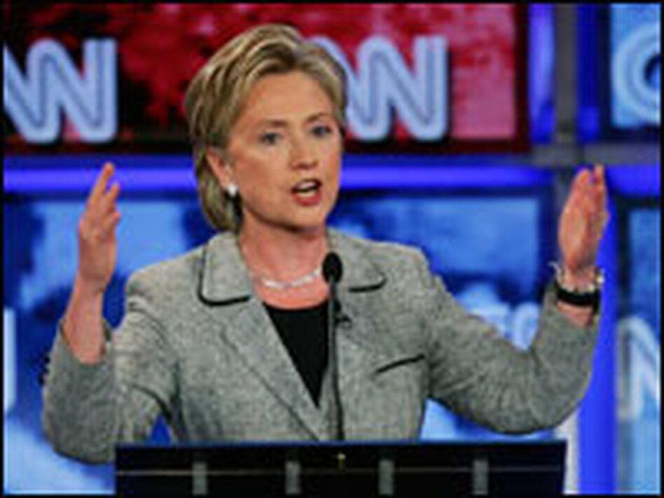 Sen. Hillary Clinton speaks during Thursday's Democratic presidential debate at the University of Nevada Las Vegas sponsored by CNN in Las Vegas.
