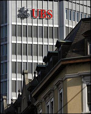 A building of the UBS bank in Zurich, Switzerland.