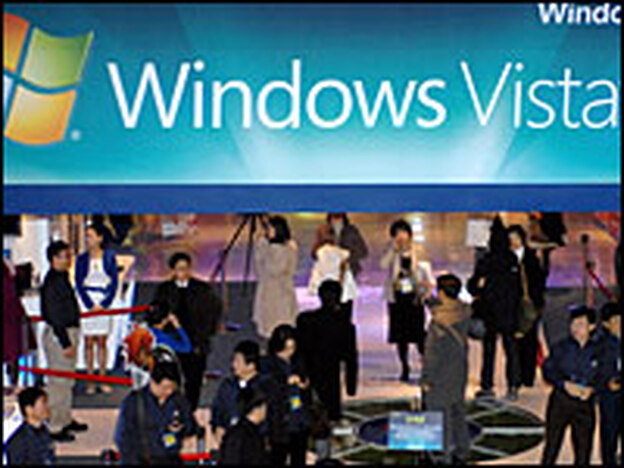 South Korean customers examine Microsoft's latest computer operating system, Windows Vista, in Seoul, South Korea, earlier this year. Critics say the system is not as good as Windows XP.