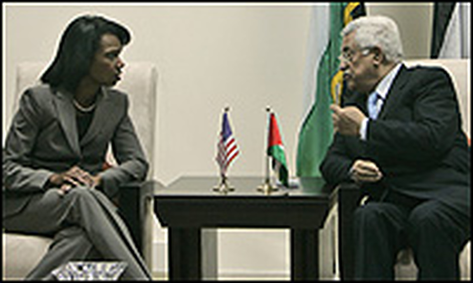 Secretary of State Condoleezza Rice and Palestinian President Mahmoud Abbas met Monday in Ramallah.