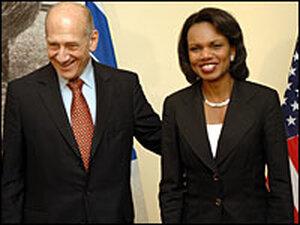 U.S. Secretary of State Condoleezza Rice meets with Israeli Prime Minister Ehud Olmert.