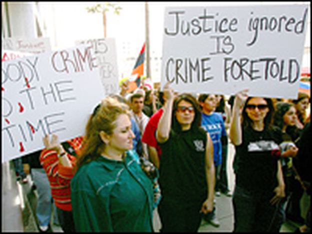 In 2006, Armenian activists protested outside the Turkish Consulate in Los Angeles to  mark the 91st anniversary of the estimated 1.5 million Armenians killed in 1915.