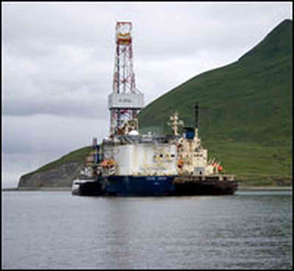 Shell's drill ship Frontier Discoverer, anchored in Dutch Harbor, Alaska.