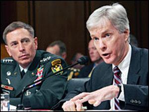 Gen. David Petraeus and U.S. Ambassador to Iraq Ryan Crocker testify on Capitol Hill
