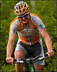Tour de France winner Floyd Landis on the pro mountain bike course at the Teva Mountain Games