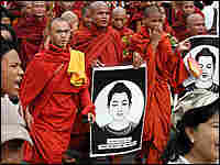 Buddhist monks march in a protest in Yangon, Myanmar.