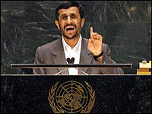 Iranian President Mahmoud Ahmadinejad addresses the  United Nations.