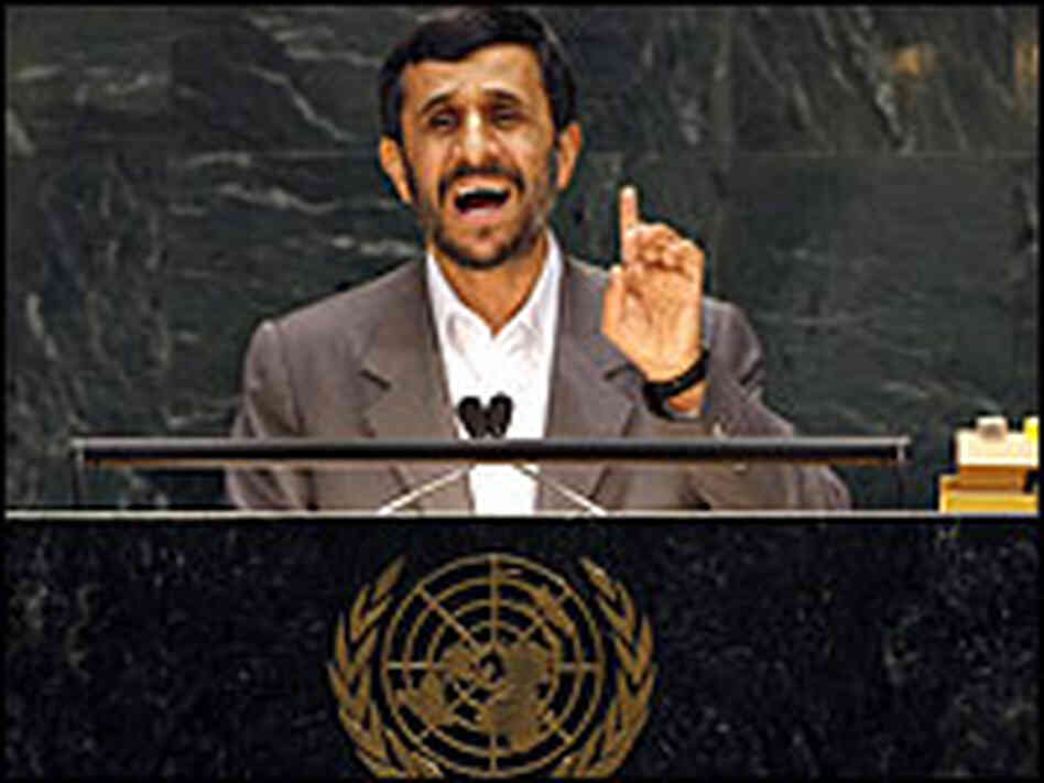 Iranian President Mahmoud Ahmadinejad addresses the  United Nations.
