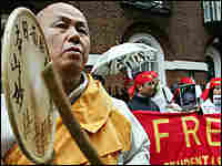 Buddhist monks protest Friday outside the Myanmar Embassy in London.