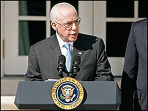 Michael Mukasey speaks after nomination