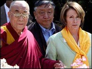 The Dalai Lama and House Speaker Nancy Pelosi meet in Dharamsala, India.