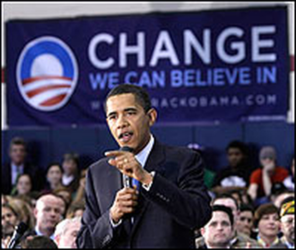 "Sen. Barack Obama speaks to supporters in Scranton, Pa. Behind him is a sign with an ""O"" logo, which has been a consistent trademark of his campaign."