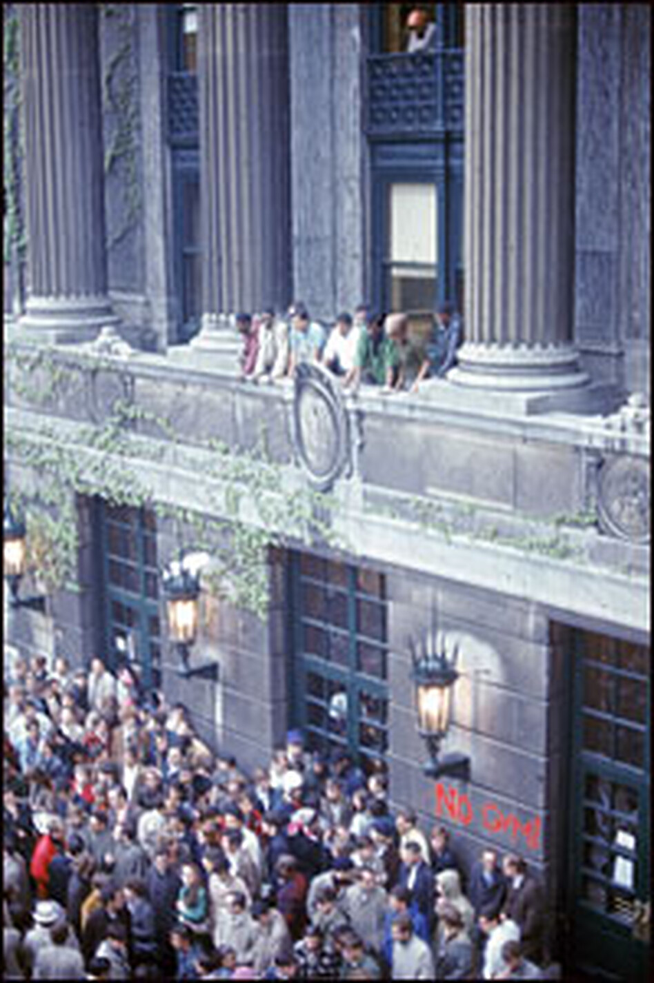 Students spill out of a building at Columbia University, where civil rights and Vietnam war protests led to arrests in April 1968.