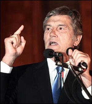 Ukrainian President Viktor Yushchenko speaks during a rally in Tbilisi against Russian aggression.