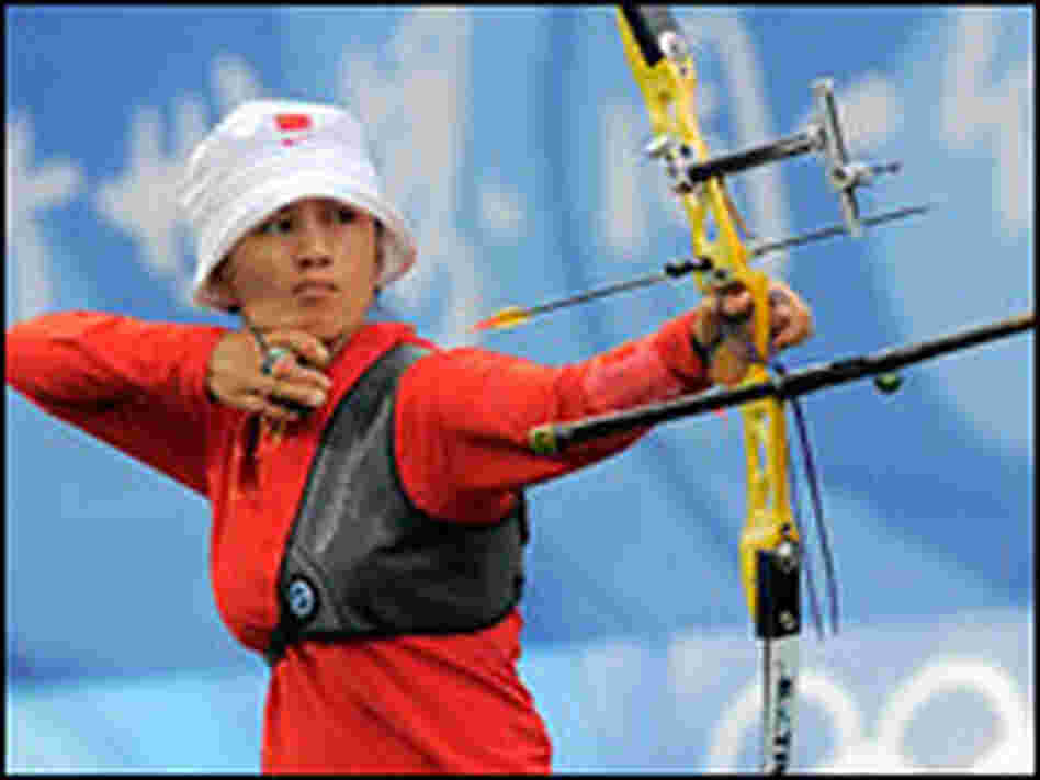 Zhang Juan Juan of China competes in women's individual archery at the Beijing Olympics.