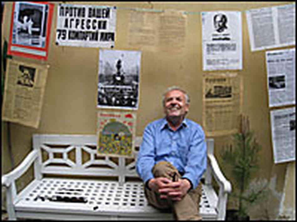 Karel Srp sits among the mementos he saved from the Prague Spring.