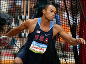 Bryan Clay competes in the discus throw of the decathlon.
