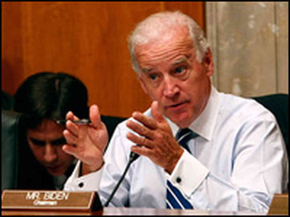 Sen. Joseph Biden (D-DE) speaks during a Senate Foreign Relations Committee hearing on July 9.