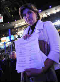 Gloria Allred displays a petition to enter Clinton's name into the vice presidential nomination