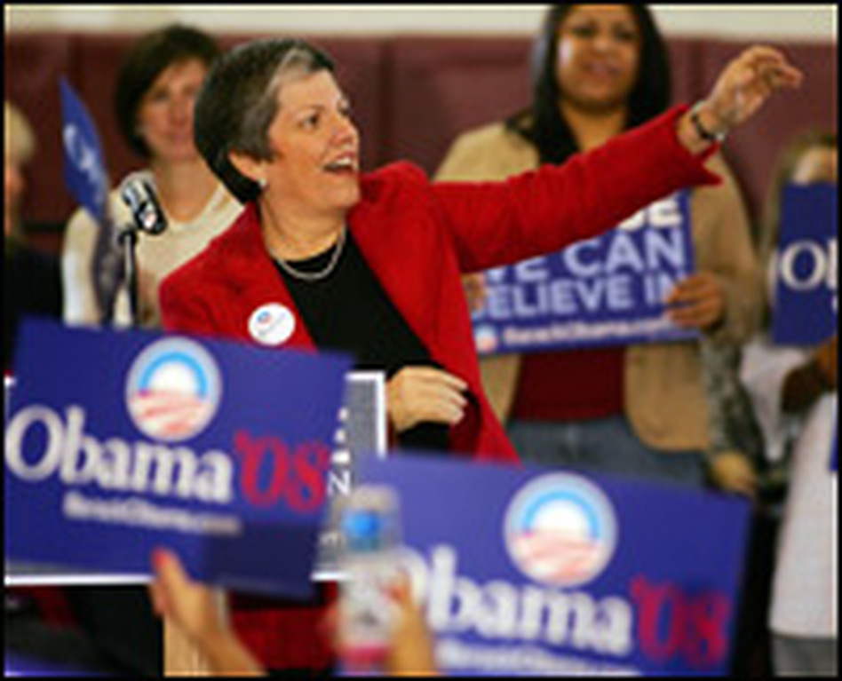 Arizona Gov. Janet Napolitano endorses Sen. Barack Obama (D-IL) during his town hall meeting on Jan. 11, 2008, in Las Vegas.
