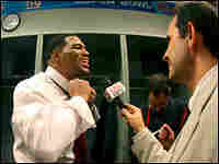 Moments after winning the Super Bowl, Michael Strahan and the New York Giants dressed for the press.